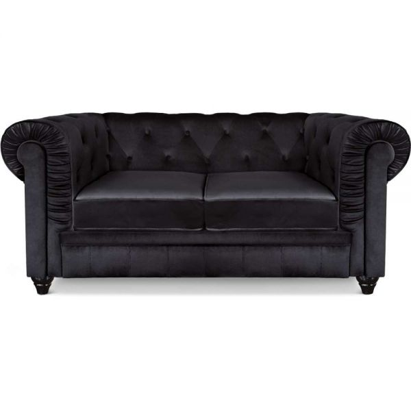 Canapé Chesterfield 2 places capitonné velours Noir