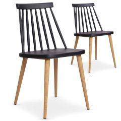 Lot de 2 chaises scandinaves noires
