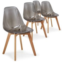 Lot de 4 chaises scandinaves Spara plexi fumé