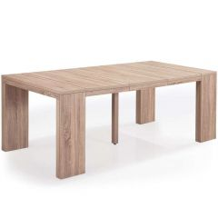 Table console extensible XL chêne clair 12 couverts