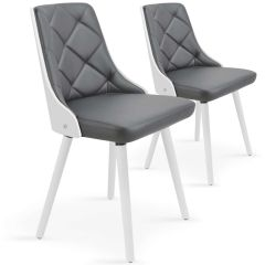 Lot de 2 chaises Scandinaves Lindingo Blanc & Gris