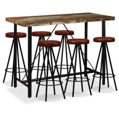 Lot table et 6 tabourets cuir de bar bois massif recycle