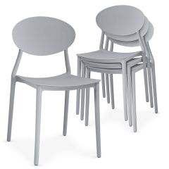 Lot de 4 chaises empilables Ganis Gris