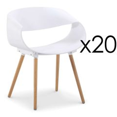 Lot de 20 chaises design style Scandinaves blanc