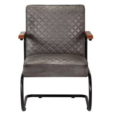 Fauteuil style industriel Opsys cuir Gris
