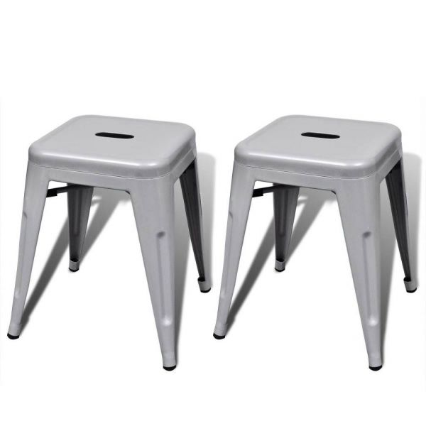 Lot de 2 tabouret bas Empilable Metal Gris