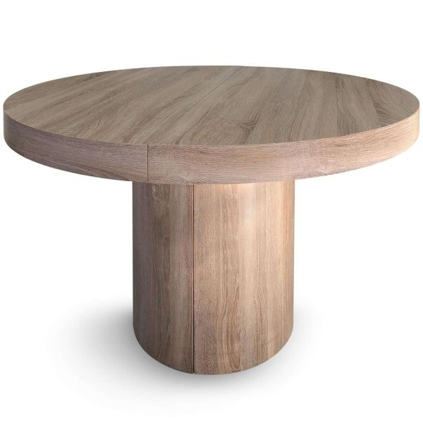 Table ronde extensible chêne clair 12 couverts