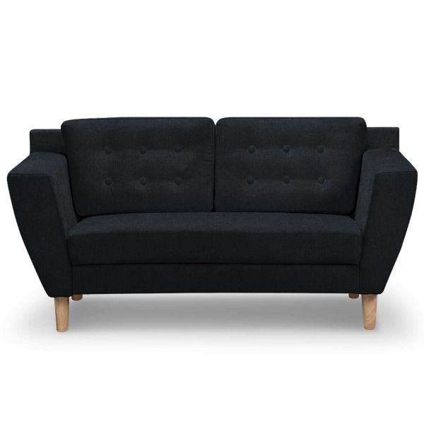 canap design confort 2 places tissu noir - Canape Confortable Design