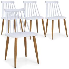 Lot de 4 chaises scandinaves Havre Blanc