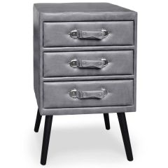 Commode vintage 3 tiroirs Hourra simili cuir Gris