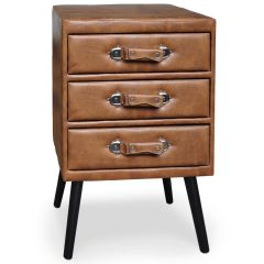 Commode vintage 3 tiroirs Hourra simili cuir Marron
