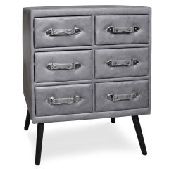Commode vintage 6 tiroirs Hourra simili cuir Gris