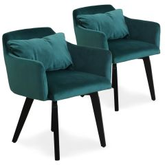 Lot de 2 fauteuils scandinaves Kingo Velours Vert