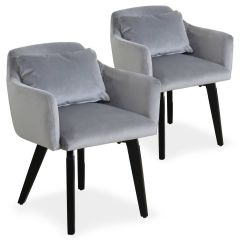 Lot de 2 fauteuils scandinaves Kingo Velours Argent