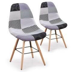 Lot de 2 chaises Scandinaves Patchwork gris