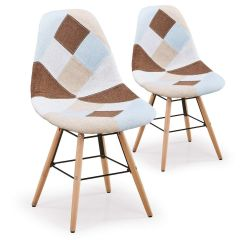 Lot de 2 chaises scandinaves Patchwork beige