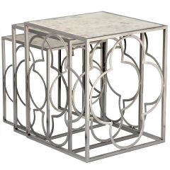 Lot 3 tables gigognes design Londe Nickel