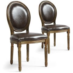 Ensemble de 20 Chaises MONARCH Médaillon Bois Patine OR Simili Marron