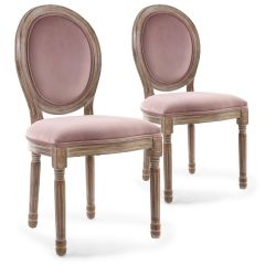 Lot de 2 chaises Louis XVI Bois patiné & Velours Rose