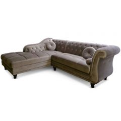 Canapé d'angle Chesterfield gauche Thun Velours Taupe