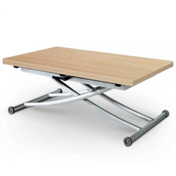 Table basse relevable chêne clair 6 couverts