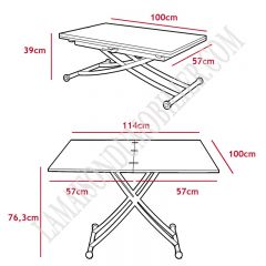 Table basse modulable Upfacil rouge laqué