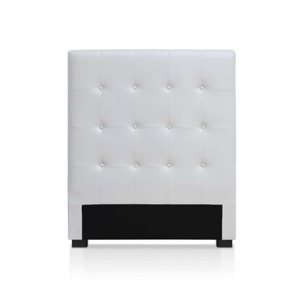 t te de lit capitonn e luor 90cm blanc. Black Bedroom Furniture Sets. Home Design Ideas