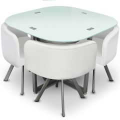 Ensemble table et chaises Mermoz 90 blanc