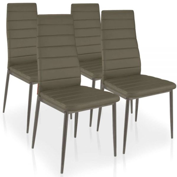 Lot de 4 chaises Kopping taupe design moderne