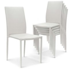 Ensemble 6 chaises empilables simili blanc design moderne