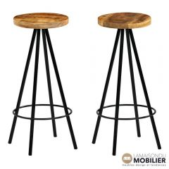 Lot de 2 tabourets de bar style industriel bois massif