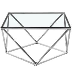 Table basse 80 cm Nefri Verre Transparent