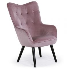 Fauteuil scandinave confortable Alissia velours rose