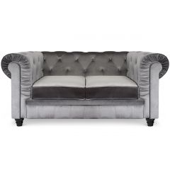 Canapé Chesterfield 2 places Thun Velours Argent