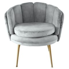 Fauteuil coquillage Maud Velours Gris