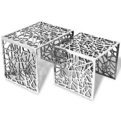 Lot de 2 tables basses gigogne Aluminium Argente