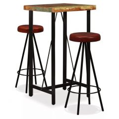Lot table et 2 tabourets cuir de bar bois massif recycle