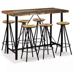 Lot table de Bar et 6 tabourets metal et bois massif recycle