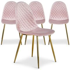 Lot de 4 chaises modernes Noory Velours Rose