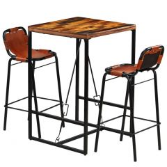 Lot table haute Industrielle Evra et 2 chaises cuir
