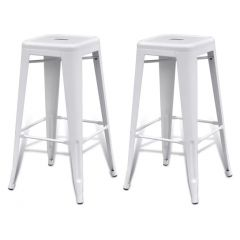 Lot de 2 tabourets de bar industriel carré laqué blanc