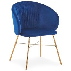 Chaise Electric Velours Bleu Pieds Or