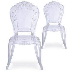 Lot 2 chaises Duc Baroque Pvc transparent