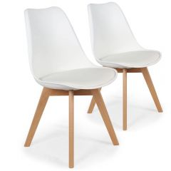 Lot 2 chaises scandinave Leny blanches