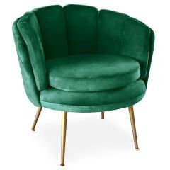 Fauteuil coquillage Maud Velours Vert