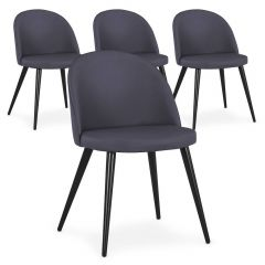 Lot de 4 chaises Scandinave Parla simili Gris