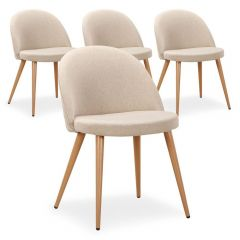 Lot de 4 chaises design Scandinave Parla Beige