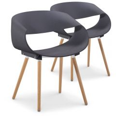 Lot de 2 chaises design Scandinave gris Leny