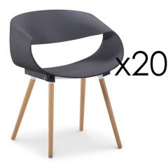 Lot de 20 chaises design scandinave Grises