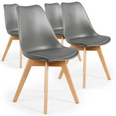 Lot de 4 chaises scandinave gris